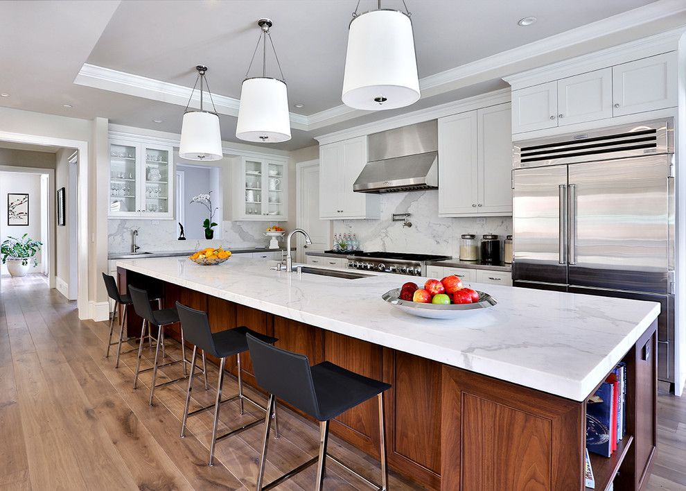 Atherton Appliance for a Transitional Kitchen with a Island Lighting and Atherton Farmhouse by Clarum Homes