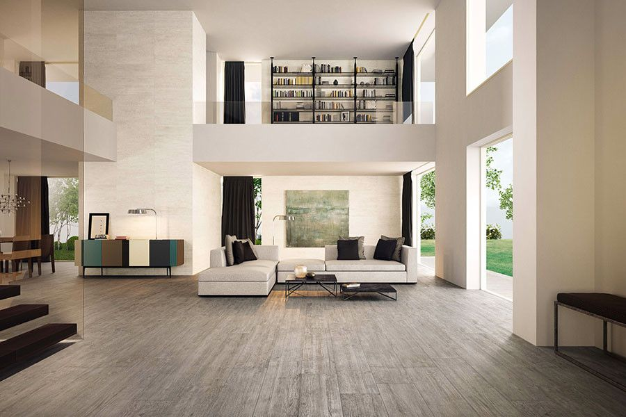 Atlas Concorde for a Modern Living Room with a Wood Porcelian Tile and Wood Porcelain Tiles by Catalfamo Flooring
