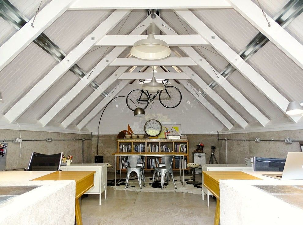 Attic Truss for a Industrial Home Office with a Wooden Desk and Walkid Home Studio by Walk Interior Architecture & Design