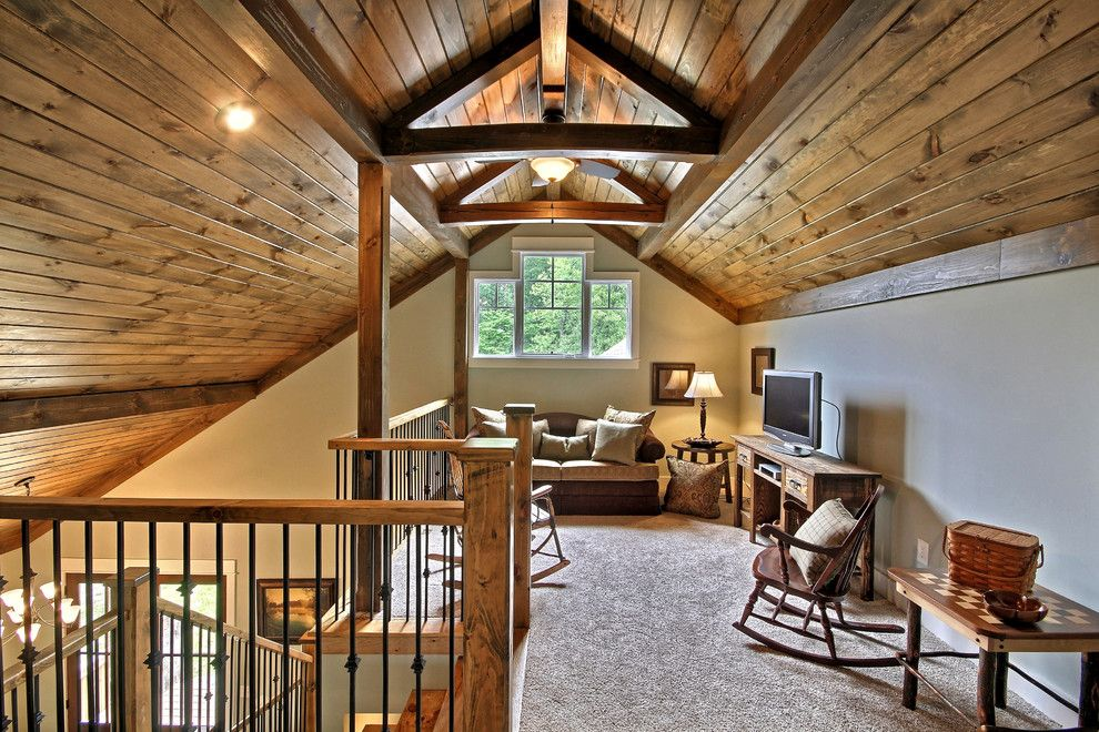 Attic Truss for a Traditional Family Room with a Wood Rocking Chair and Lake Chatuge Safe Harbor by Timberlake Custom Homes, Llc
