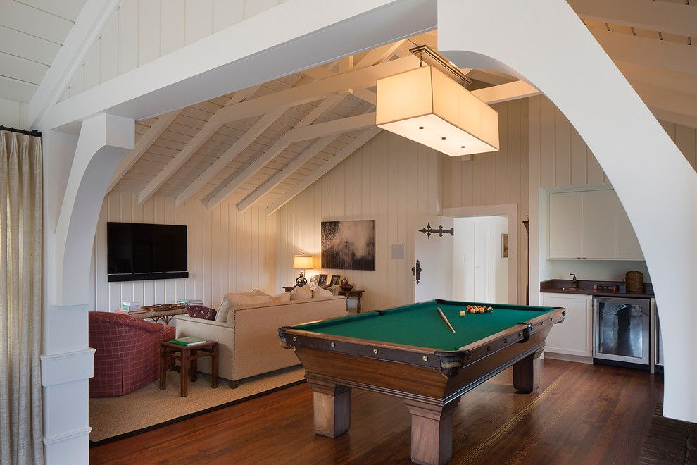 Attic Truss for a Transitional Family Room with a Pool Table and Attic Game Room by Thomas Rex Hardy, Aia