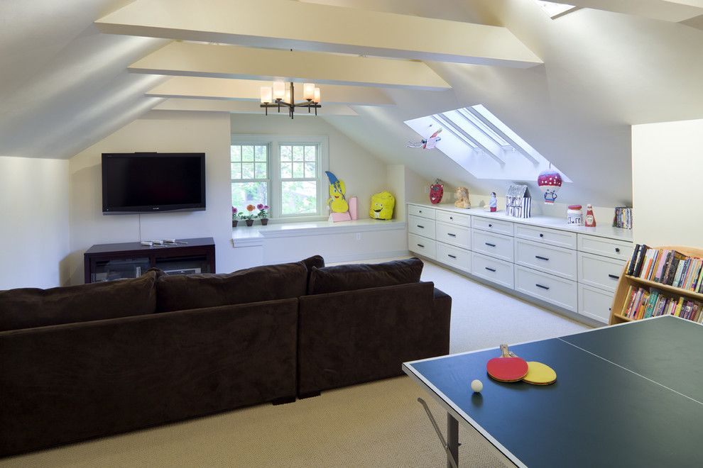 Attic Truss for a Victorian Family Room with a Ping Pong and Shingle Style Attic Play Area by Lda Architecture & Interiors