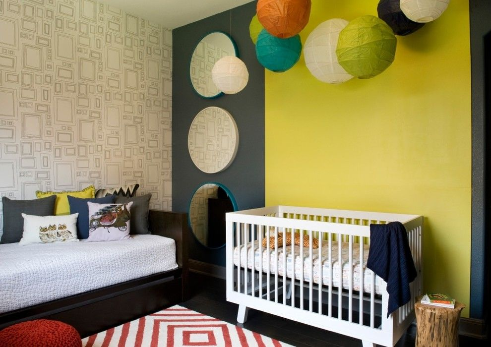 Austin Hardwoods for a Modern Nursery with a Bedroom and South Austin Suburban by Robin Colton Studio