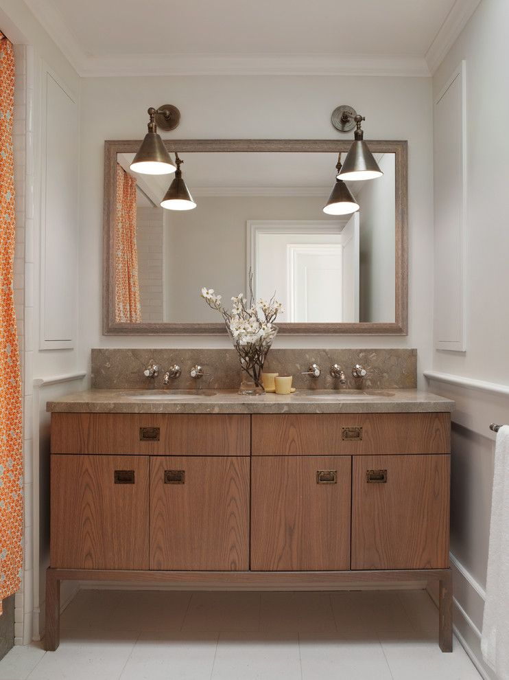 Babettes Furniture for a Transitional Bathroom with a Wall Sconces and Bathrooms by Benjamin Dhong Interiors