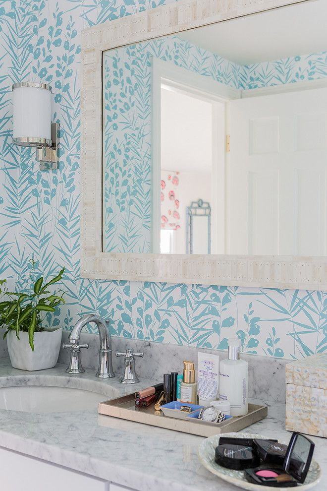 Bach Medical Supply for a Contemporary Powder Room with a Wallpaper and Cape Cod Fun by Katie Rosenfeld Design