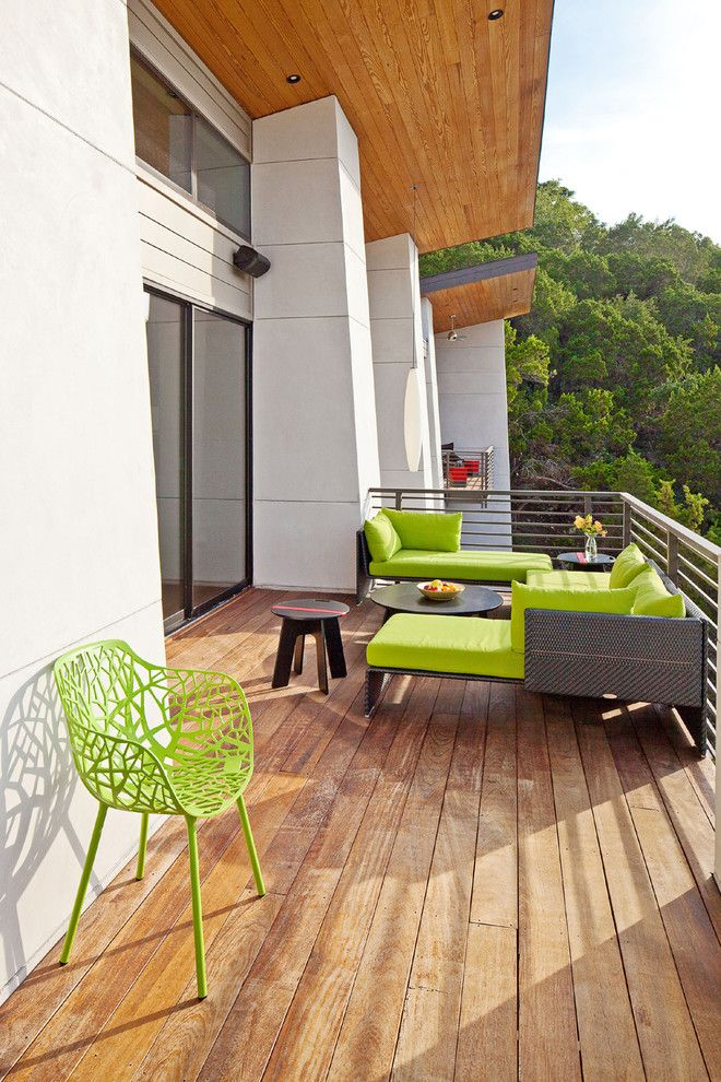 Bacons Furniture for a Contemporary Deck with a Bright Seating and Westlake Hills 1 by J Square Architecture