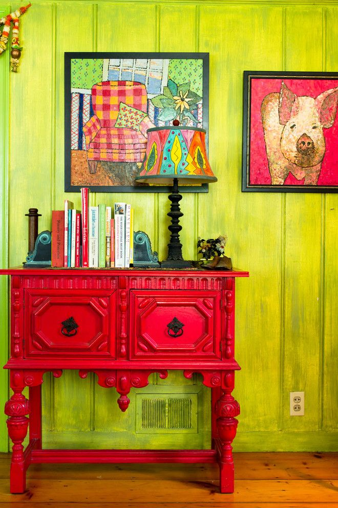 Bacons Furniture for a Farmhouse Hall with a Bright Green Wall and My Houzz: An Antique Cape Cod House Explodes with Color by Rikki Snyder