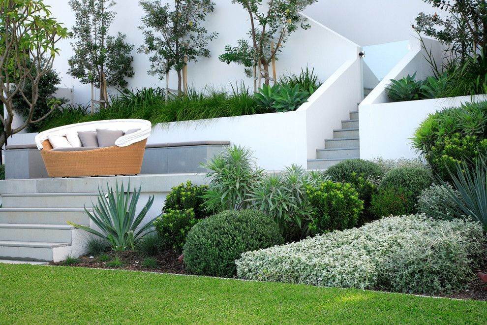 Bacons Furniture for a Modern Landscape with a Retaining Wall and Longueville by Secret Gardens
