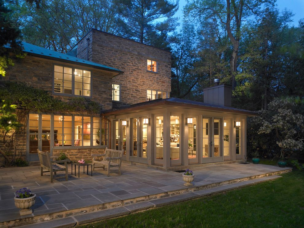 Bacons Furniture for a Traditional Exterior with a Sunroom and Exterior of Family Room Addition by Krieger + Associates Architects, Inc.