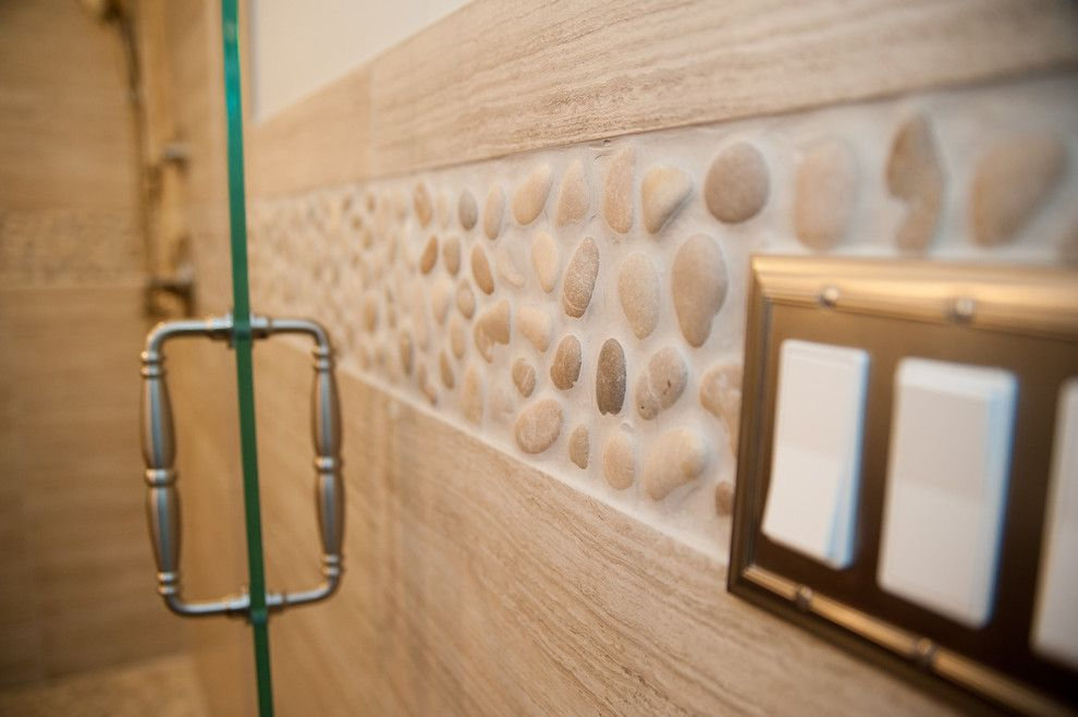 Balis for a Modern Bathroom with a Drain and Seta Porcelain & Pebble Series with Design Build Pros of Nj by Best Tile