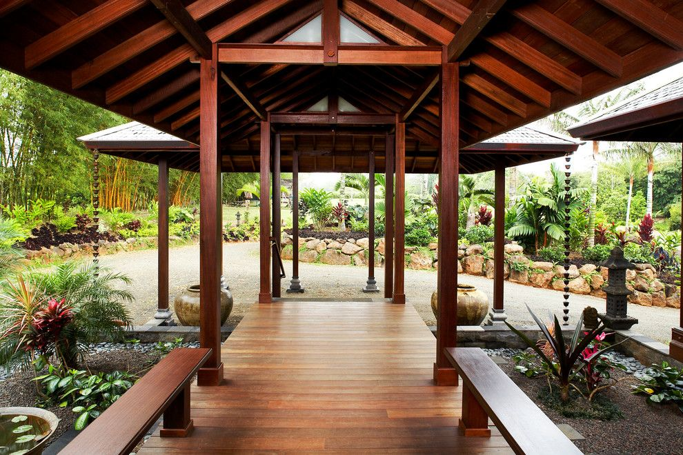 Balis for a Tropical Porch with a Covered Pathway and Kauai Lake Front Estate by Tropical Architecture Group, Inc