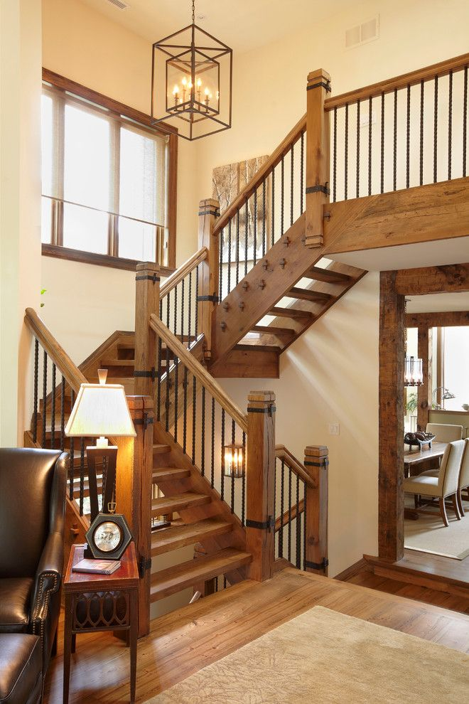Ballister for a Rustic Staircase with a Neutral Colors and the Cottage by Parkyn Design