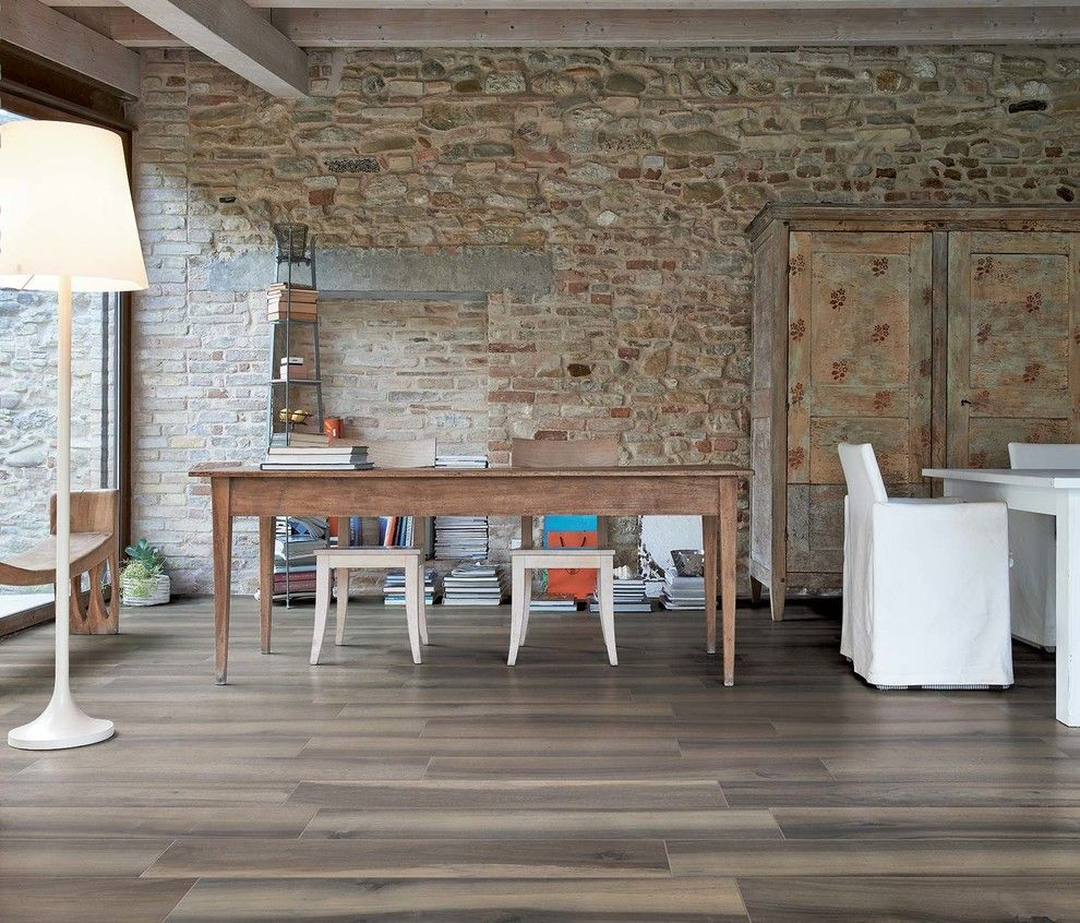 Bamboo vs Hardwood for a Rustic Dining Room with a Rustic Tile and Trend: Wood Look Ceramic Tile by Arley Wholesale   Albany Tile, Carpet & Rug