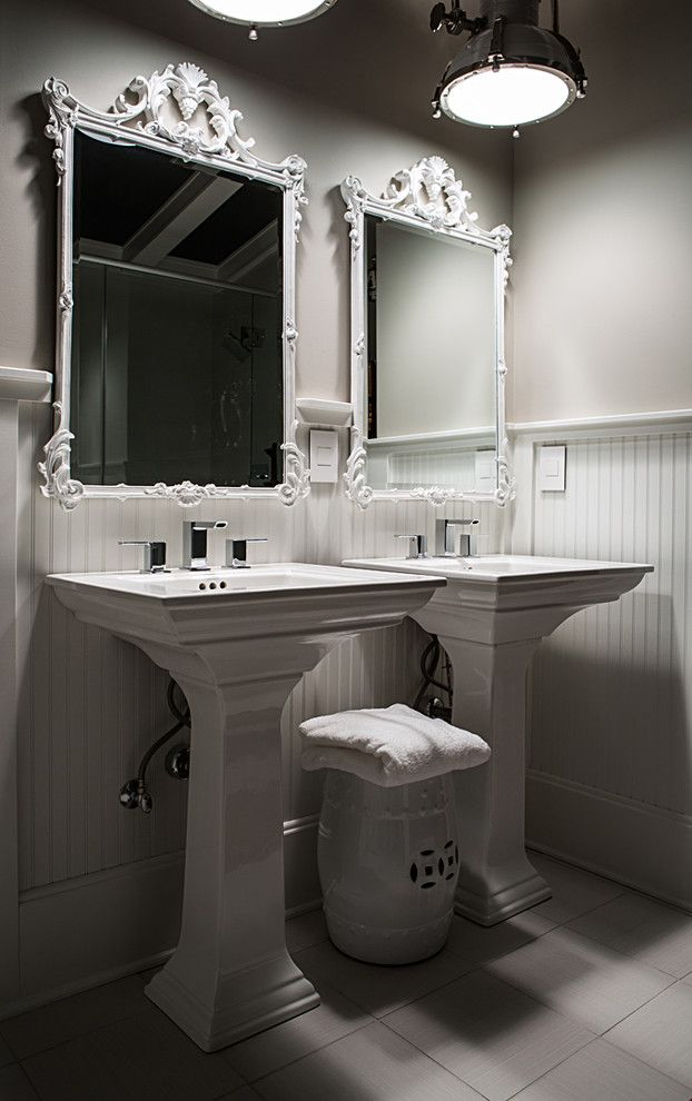 Barbara Cosgrove for a Contemporary Bathroom with a Contemporary and Mirror Elegant, White by Barbara Cosgrove Lamps