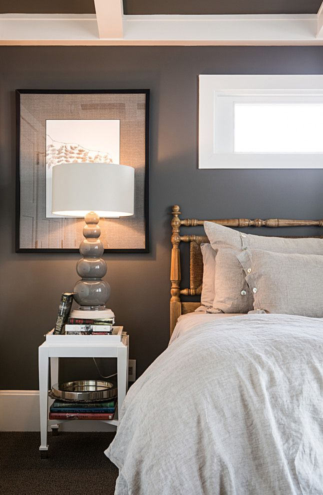 Barbara Cosgrove for a Contemporary Bedroom with a Chandelier and Clay Gourd, Grey by Barbara Cosgrove Lamps