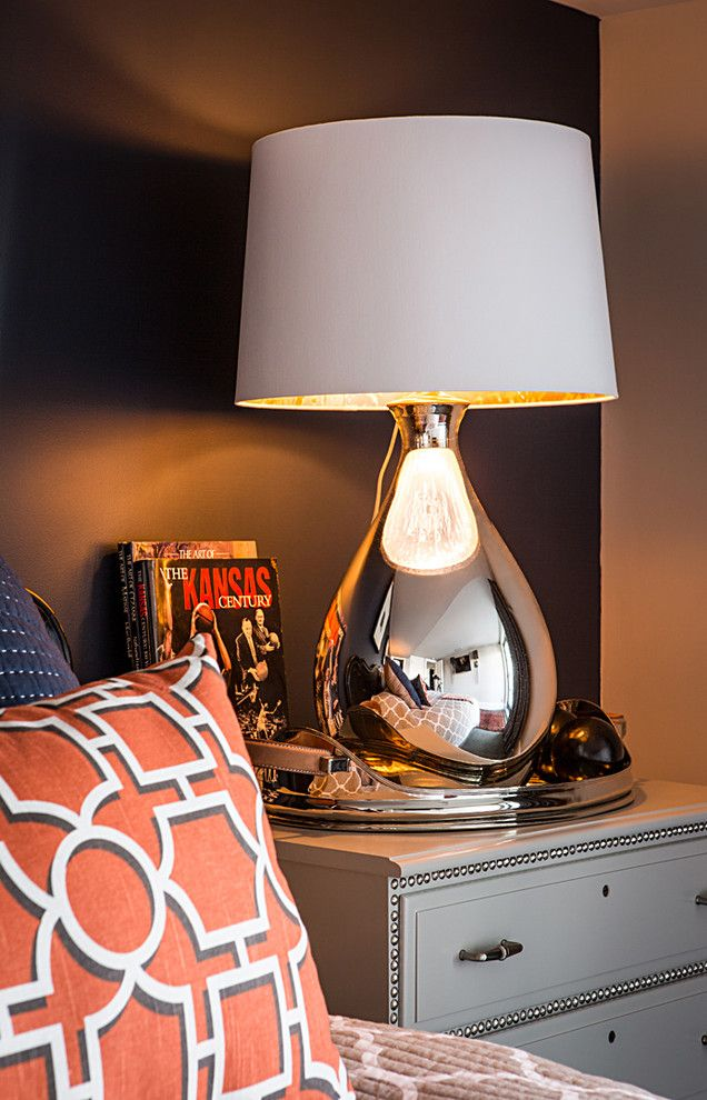 Barbara Cosgrove for a Contemporary Bedroom with a Dominos and Glass Tear Drop, Silvered by Barbara Cosgrove Lamps