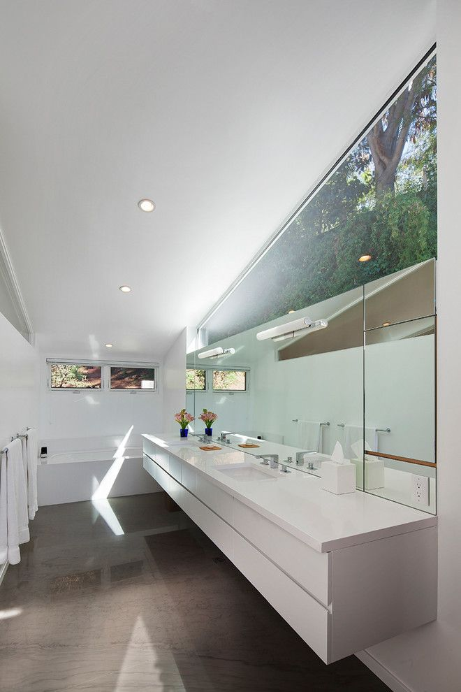 Barden Homes for a Modern Bathroom with a Bathroom and Hollywood Hills Tract Home Renovation by Lane Barden Photography