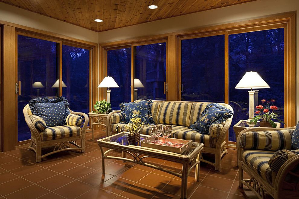 Bare Bones Furniture for a Traditional Sunroom with a Sliding Doors and Private Residence by Don F. Wong