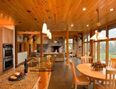 Barndominium Floor Plans for a Traditional Kitchen with a Floating Staircase and Saranac Lake House by Phinney Design Group