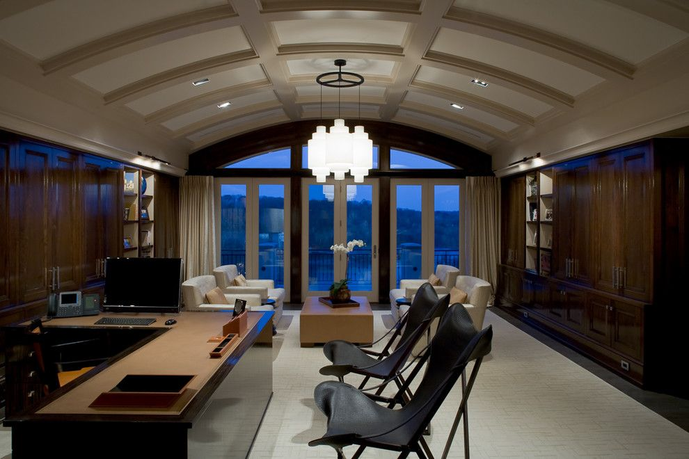 Barrel Vault for a Contemporary Home Office with a Vaulted Ceiling and Private Residence by Jim Tetro