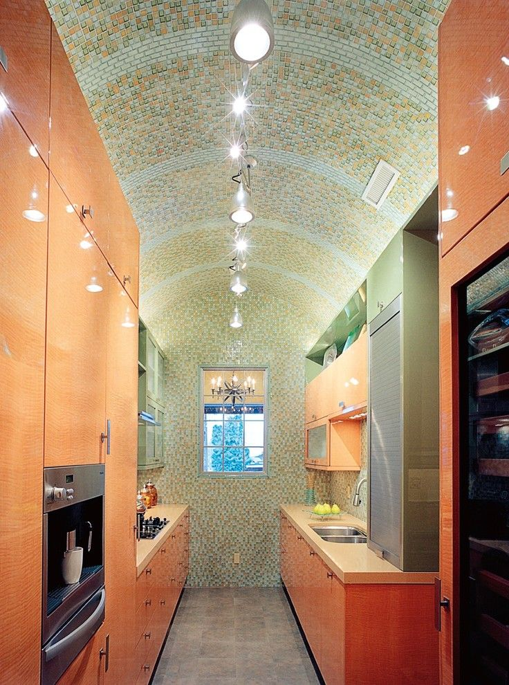 Barrel Vault for a Contemporary Kitchen with a Vaulted Ceiling and Oceanside Glasstile Kitchen Tessera 1x1  Mosaic by Oceanside Glasstile
