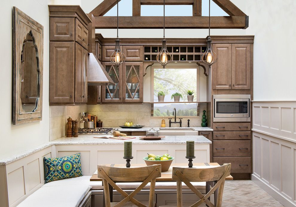 Barrel Vault for a  Kitchen with a Vaulted Ceiling and Davenport Maple Finished in Our Drift Finish by Wellborn Cabinet, Inc.