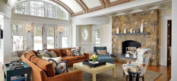 Barrel Vault for a Traditional Family Room with a Transom and Classical Shingle by Jan Gleysteen Architects, Inc
