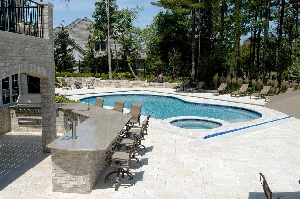 Barrington Pools for a Traditional Pool with a Barrington Pool Cover and North Barrington, Il Freeform Pool and Spa with Picture Frame Automatic Cover by Platinum Poolcare