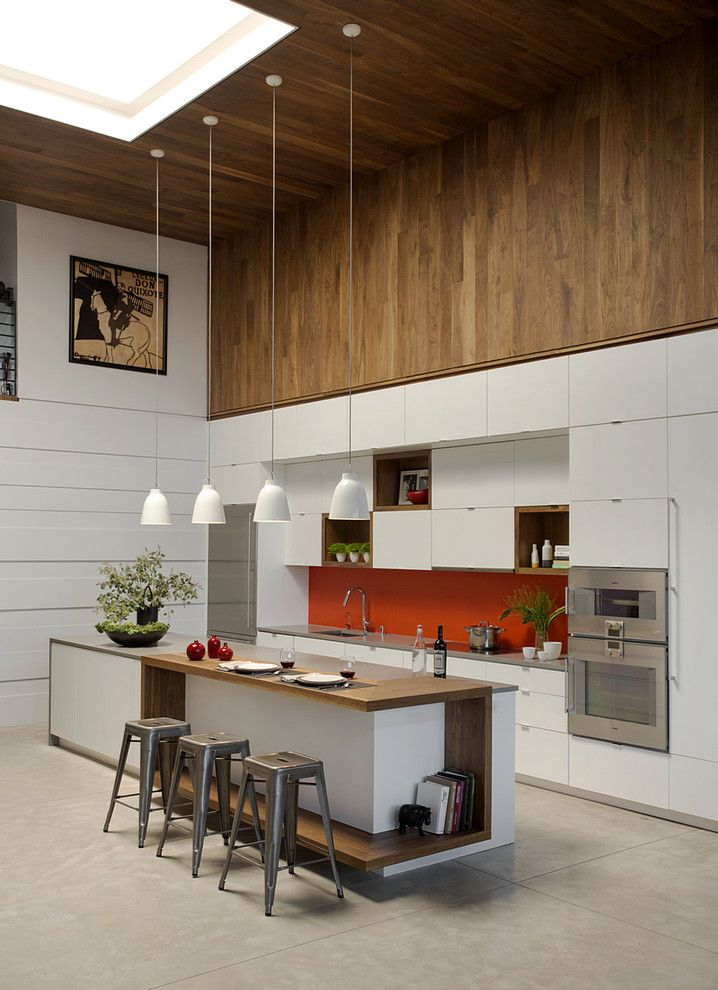 Barstool Boston for a Contemporary Kitchen with a Bookshelf Isalnd and Family Loft by Zeroenergy Design