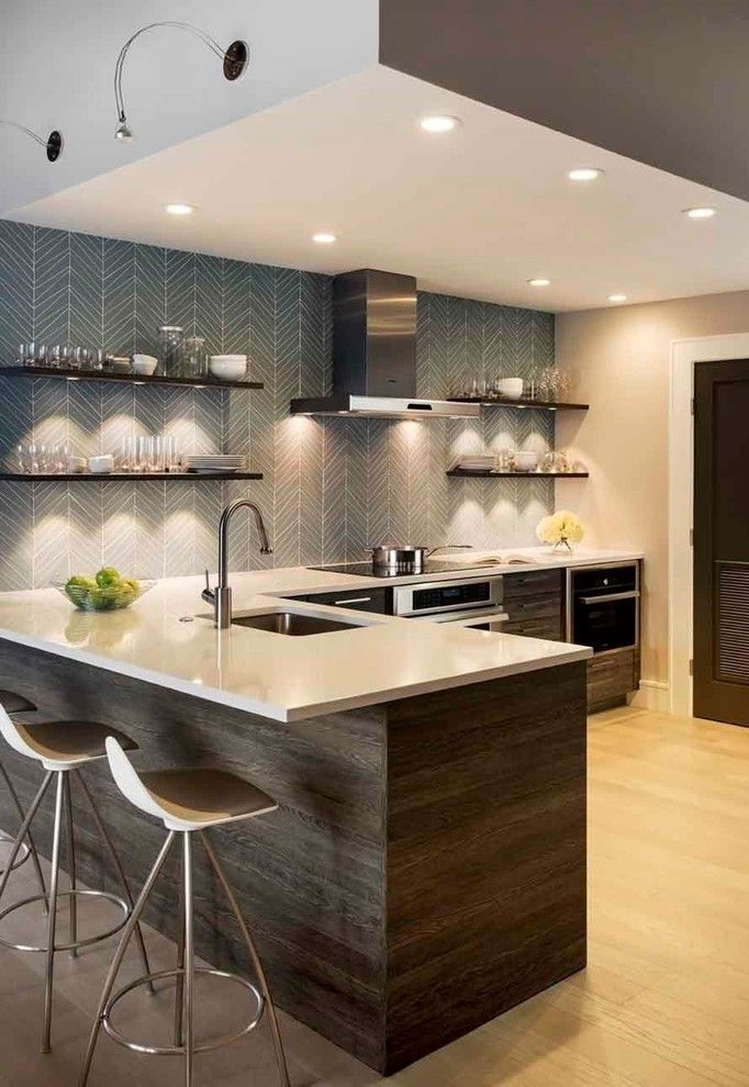 Barstool Boston for a Contemporary Kitchen with a Recessed Lighting and Seaport District Loft by Renovation Planning, Llc