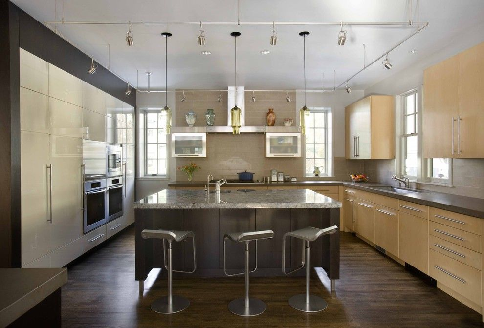 Barstool Boston for a Contemporary Kitchen with a Wood Flooring and Prince Street Kitchen by Venegas and Company