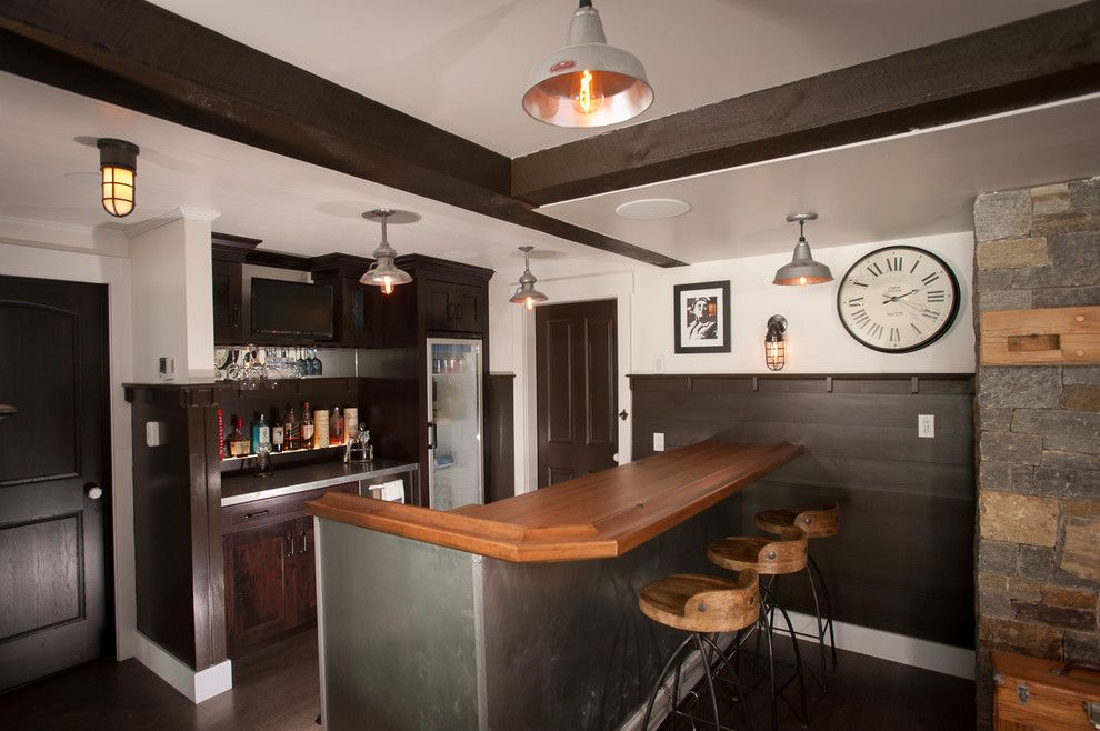 Barstool Boston for a Rustic Wine Cellar with a Bar Area and Lake George Retreat by Phinney Design Group