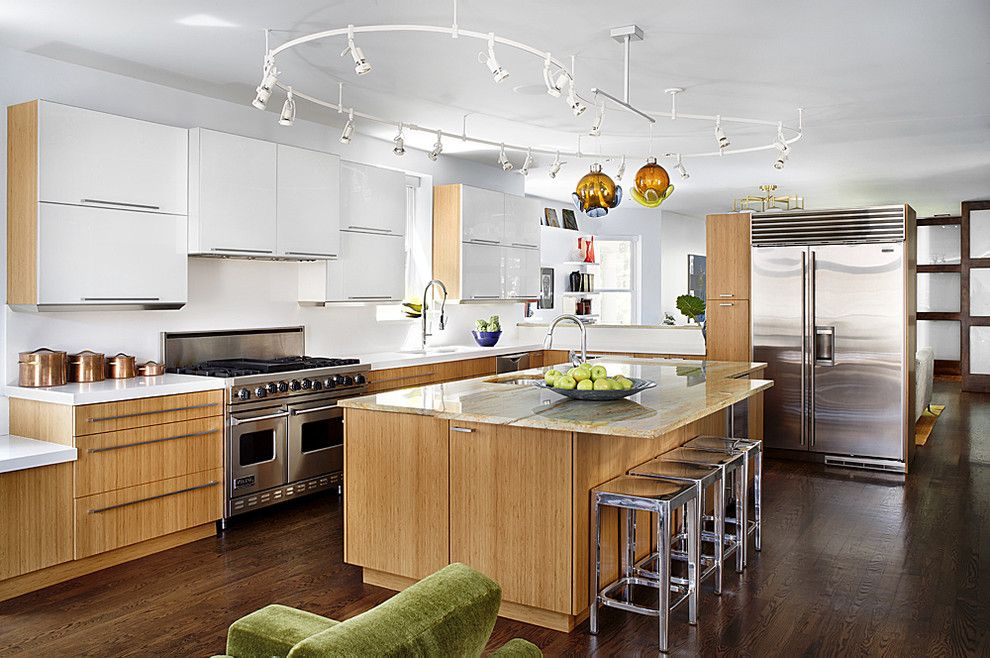 Barstool Chicago for a Midcentury Kitchen with a White Cabinets and Wrigleyville Residence by Alan Design Studio