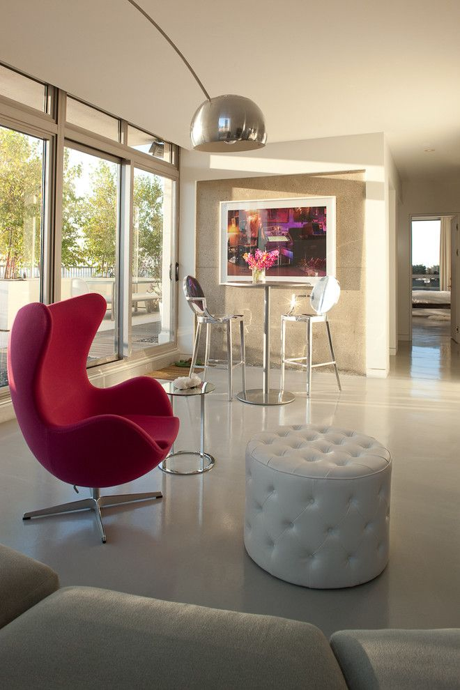 Barstool Chicago for a Modern Living Room with a White Walls and Jamesthomas, Llc by Jamesthomas Interiors