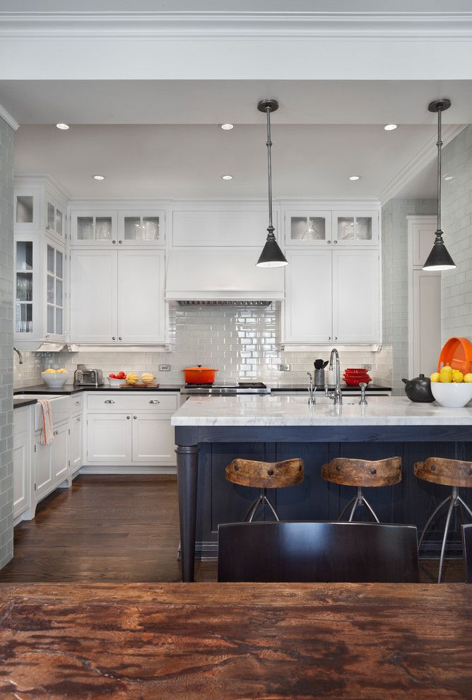 Barstool Chicago for a Transitional Kitchen with a Marble Countertop and Hyde Park Renovation by Tom Stringer Design Partners