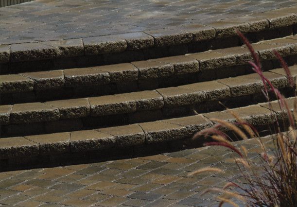 Basalite for a  Entry with a Paving and Country Cobble for Patios and Steps by Basalite Concrete Products