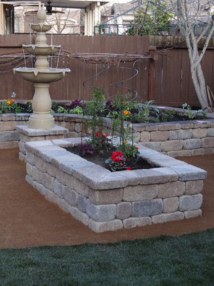 Basalite for a Traditional Landscape with a Concrete Block and Stone Garden Planter Box by Basalite Concrete Products