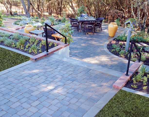 Basalite for a Traditional Landscape with a Paver Walkway and Walkway Pavers From Basalite by Basalite Concrete Products