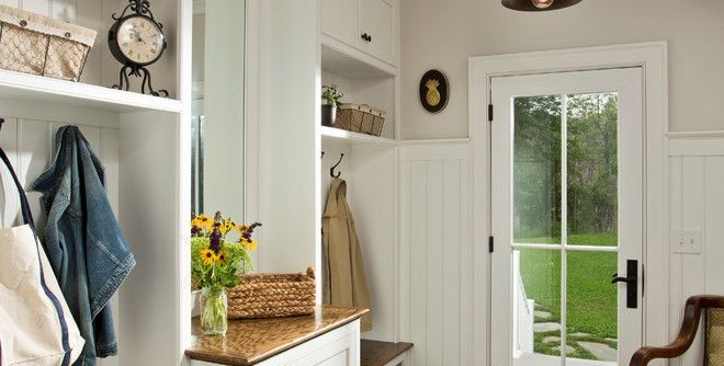 Bassett Mirror Company for a Farmhouse Entry with a Mantle and Farmhouse Vernacular by Teakwood Builders, Inc.