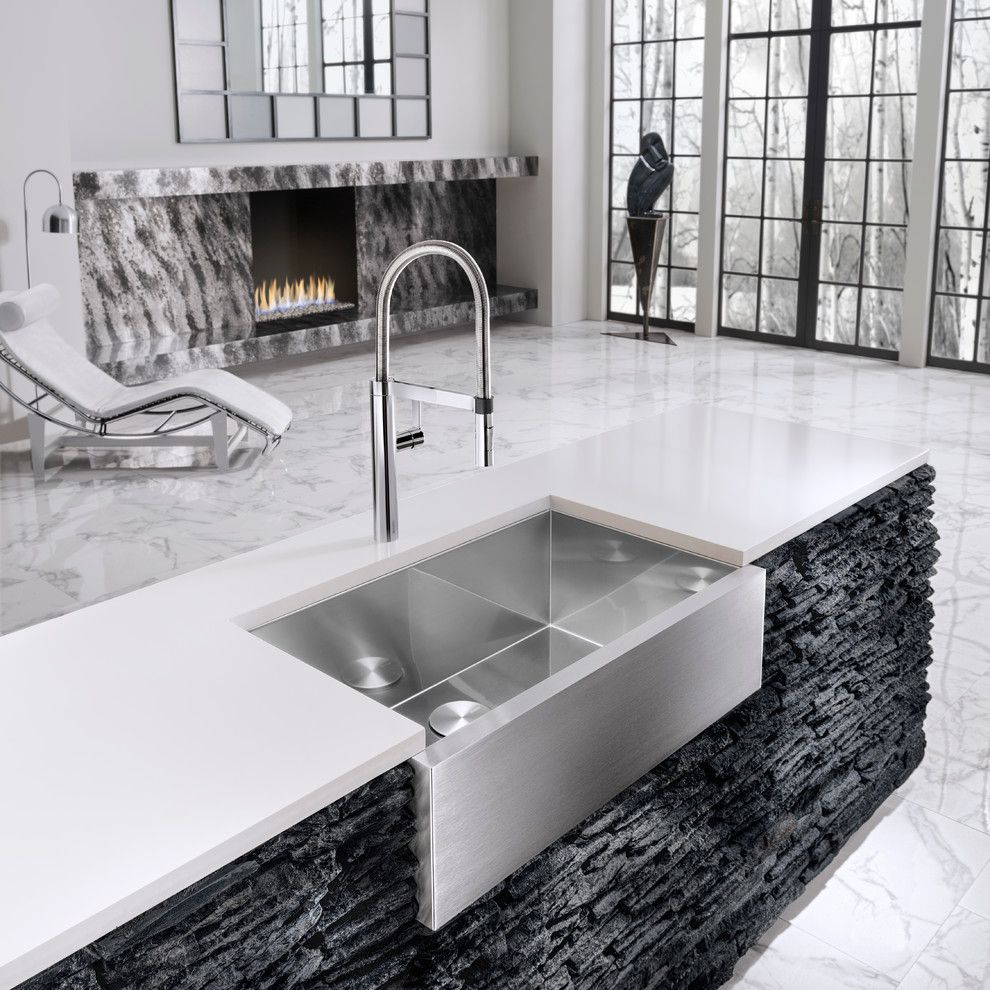 Bassett Mirror Company for a Modern Kitchen with a Metallic Tile and Blanco by Blanco