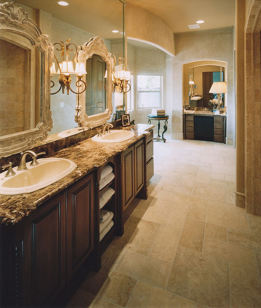 Bassett Mirror Company for a Traditional Bathroom with a Dark Wood Cabinets and Artcraft Granite, Marble & Tile Co. by Artcraft Granite, Marble & Tile Co.
