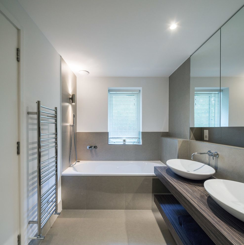 Bathroom Color Schemes for a Contemporary Bathroom with a Handheld Shower Head and Kingston House 1 by Coupdeville