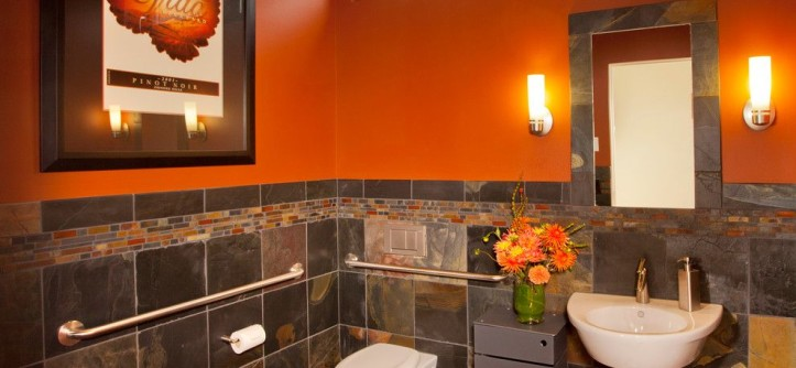 "Bathroom Color Schemes for a Contemporary Bathroom with a Orange Wall and Dundee Hills ""Wheel Chair Accessible"" by L.EvansDesignGroup,Inc"