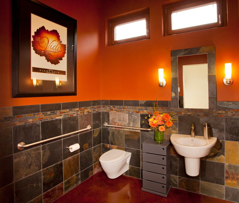 Bathroom Color Schemes for a Contemporary Bathroom with a Orange Wall and Dundee Hills
