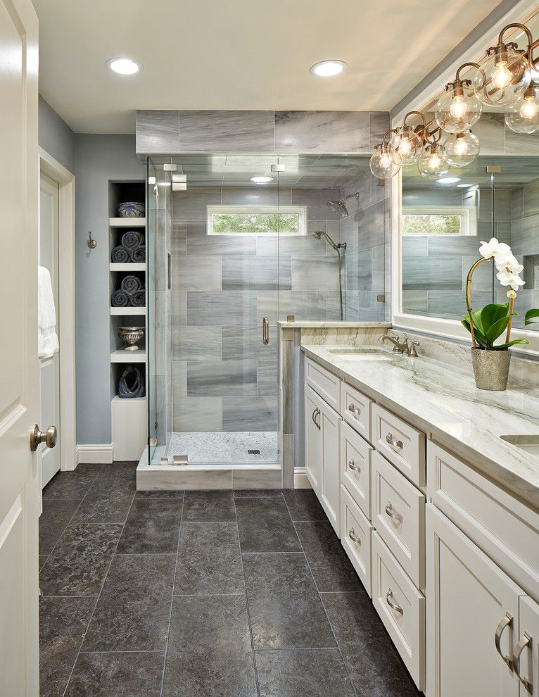 bathroom color schemes for a traditional bathroom with a white bath vanities and bathroom remodel in dallas by usi design remodeling - Bathroom Remodel Color Schemes