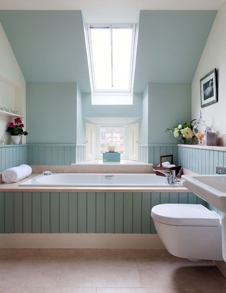 Bathroom Color Schemes for a Transitional Bathroom with a Tongue and Groove Panelling and Fife Steading Conversion by Robertson Lindsay Interiors