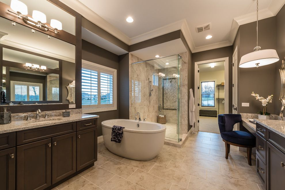 Bathroom Color Schemes for a Transitional Bathroom with a White Indoor Shades and Pembrooke by Arthur Rutenberg Homes   Cincinnati, Oh
