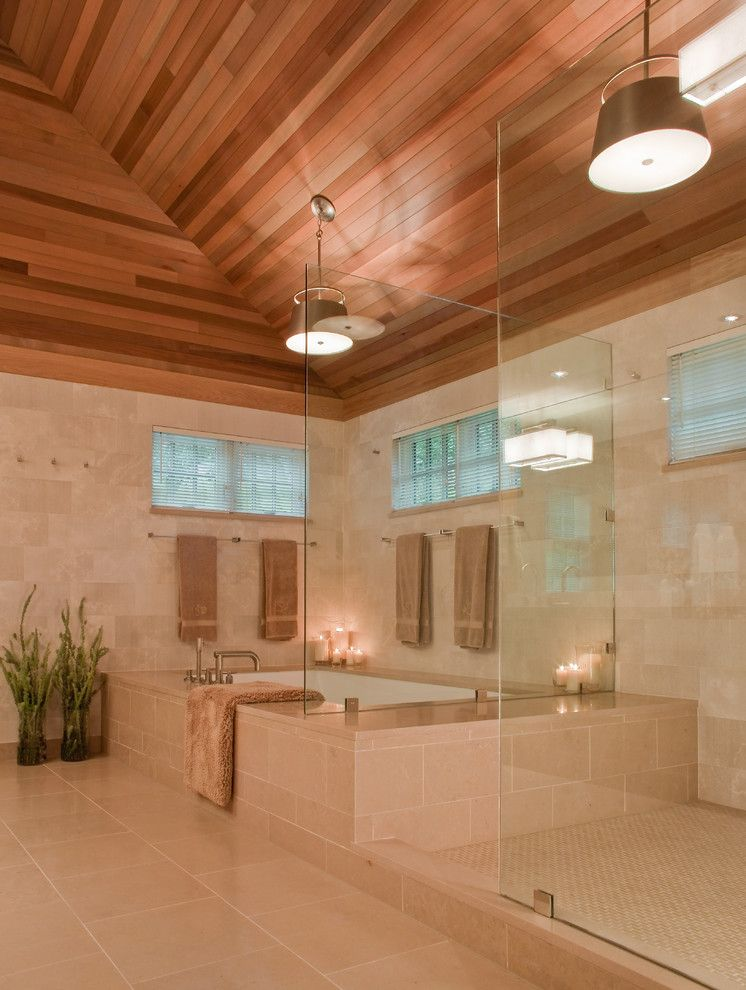 Bathroom Layouts for a Contemporary Bathroom with a Tile Tub Surround and Master Bath by Giambastiani Design