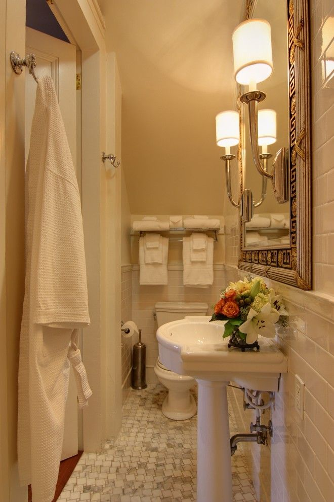 Bathroom Layouts for a Traditional Bathroom with a Marble and Closet to Bathroom Conversion by Nelson Wilson Interiors
