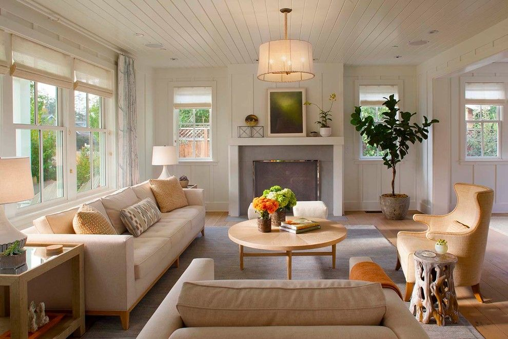 Batte Furniture for a Farmhouse Living Room with a Sofa and Modern Farmhouse by Modern Organic Interiors